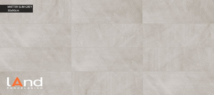 Technical porcelain wall tiles with stone effect MATTER SLIM GREY by Land Porcelanico