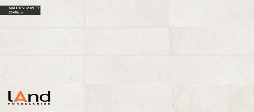 Technical porcelain wall tiles with stone effect MATTER SLIM IVORY by Land Porcelanico