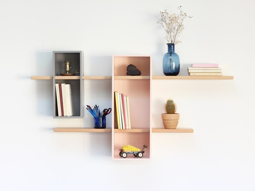 Wall-mounted sectional bookcase MAX DOUBLE by Compagnie