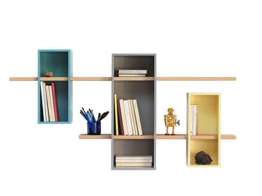 Wall-mounted sectional bookcase MAX DOUBLE XL by Compagnie