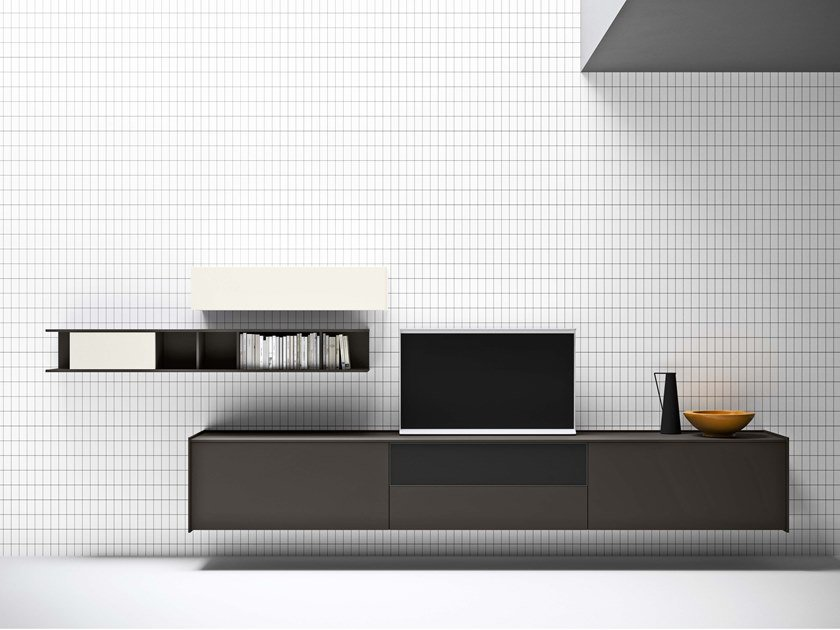 Lacquered suspended sideboard with built-in speakers MAXIMA 01 by Md House