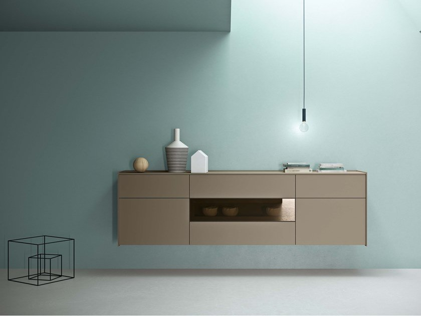 Lacquered suspended sideboard with integrated lighting MAXIMA 04 by Md House