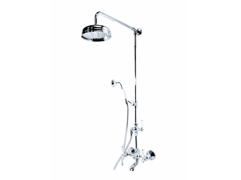 Wall-mounted metal shower panel with hand shower with overhead shower BERKELEY | Shower panel by GENTRY HOME