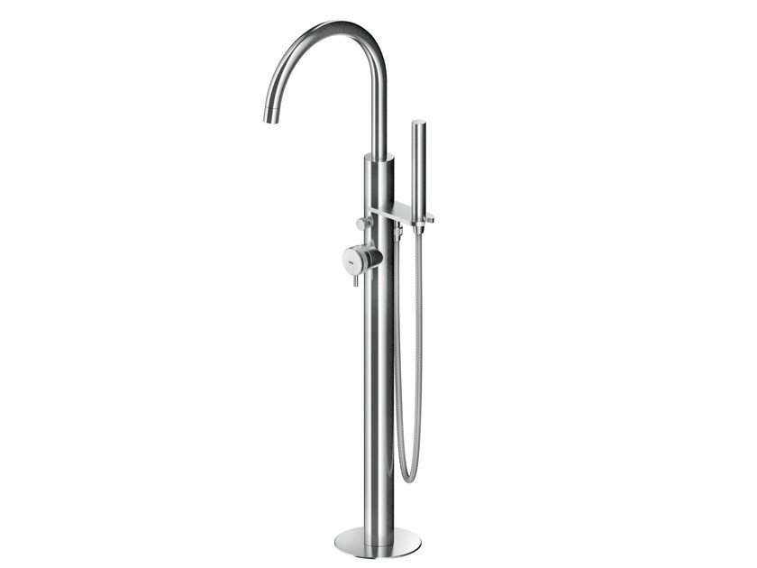Floor standing stainless steel bathtub mixer with hand shower MB516 | Bathtub mixer by MGS