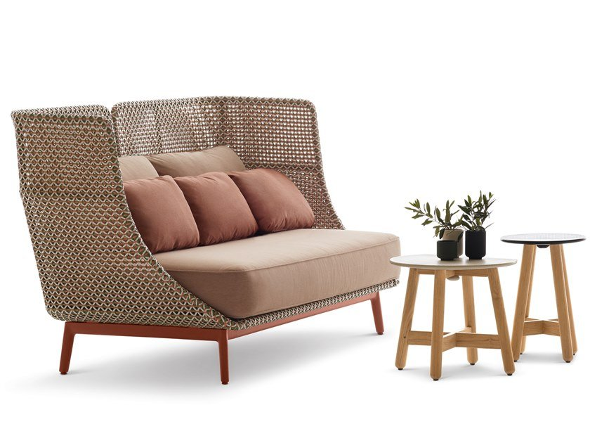 High-back synthetic fibre garden sofa MBARQ by DEDON