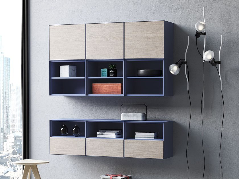 Wall-mounted modular bookcase MBOX by Steelbox by Metalway