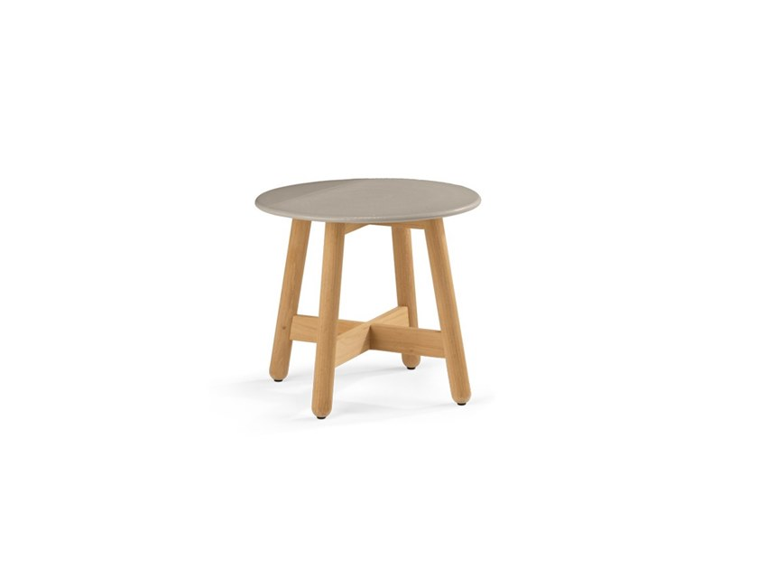 Round teak high side table MBRACE | High side table by DEDON