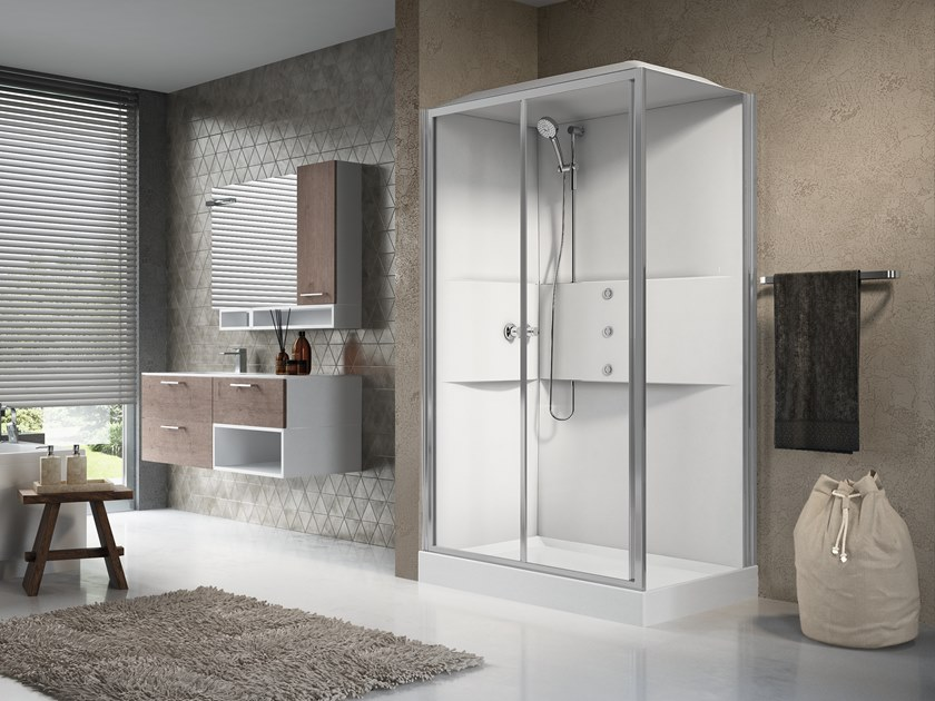 Multifunction rectangular shower cabin with sliding door MEDIA 2.0 2P 120X80 by NOVELLINI