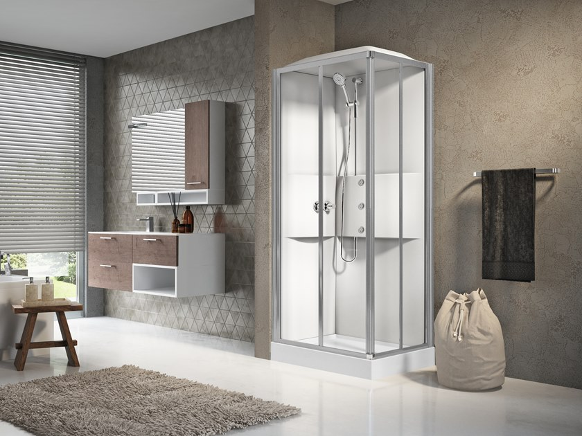 Multifunction rectangular shower cabin with sliding door MEDIA 2.0 A90X70 by NOVELLINI