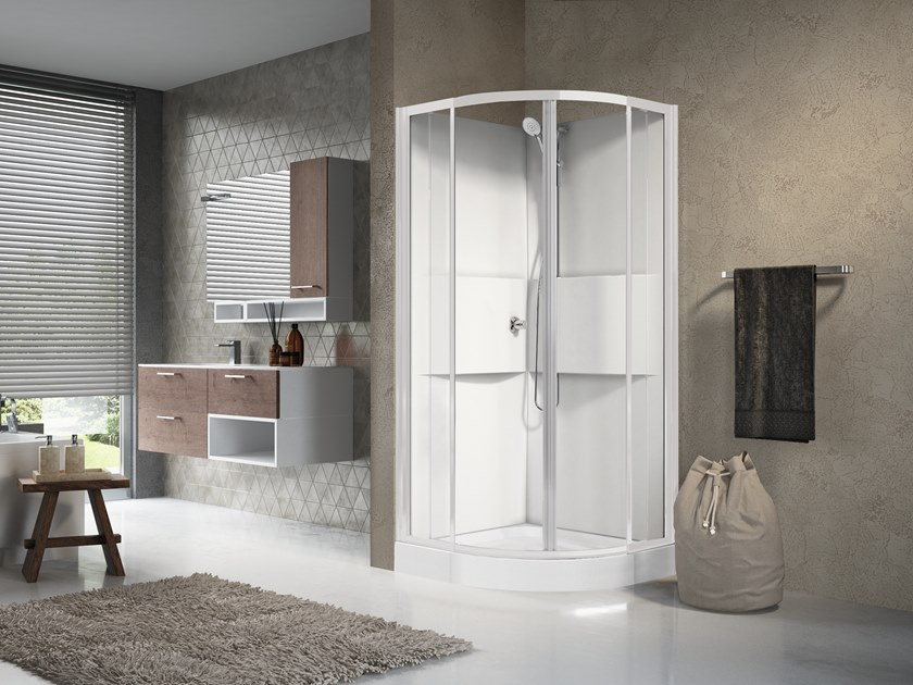 Multifunction semicircular shower cabin with sliding door MEDIA 2.0 R90 by NOVELLINI