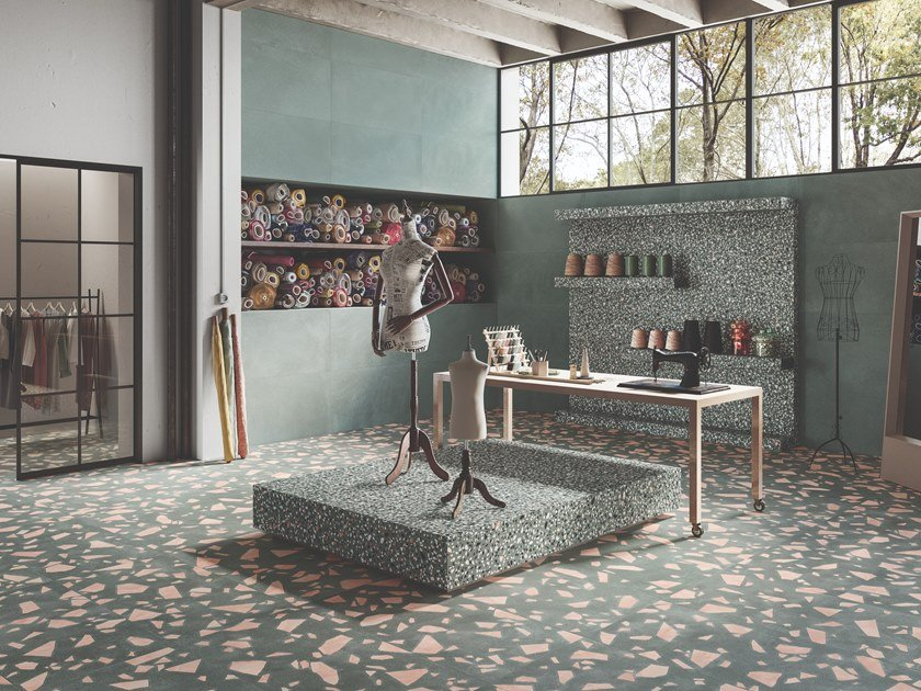 Porcelain stoneware wall/floor tiles terrazzo effect MEDLEY GREEN by Ergon