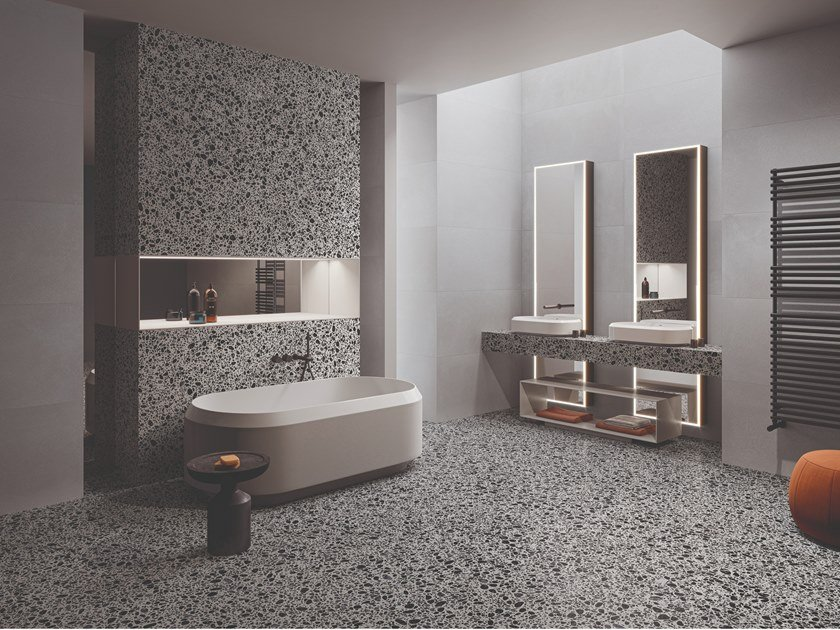 Grey porcelain stoneware wall/floor tiles terrazzo effect MEDLEY GREY by Ergon by Emilgroup