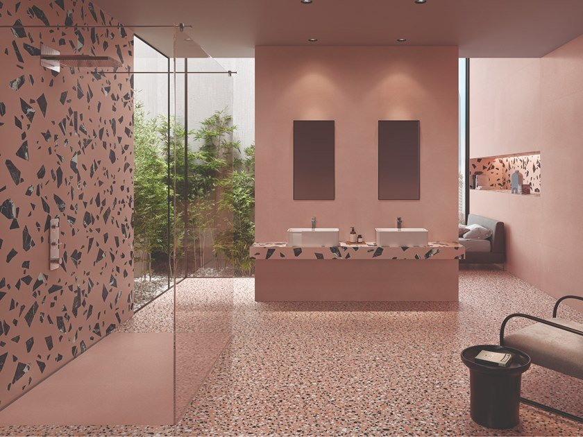 Porcelain stoneware wall/floor tiles terrazzo effect MEDLEY PINK by Ergon by Emilgroup