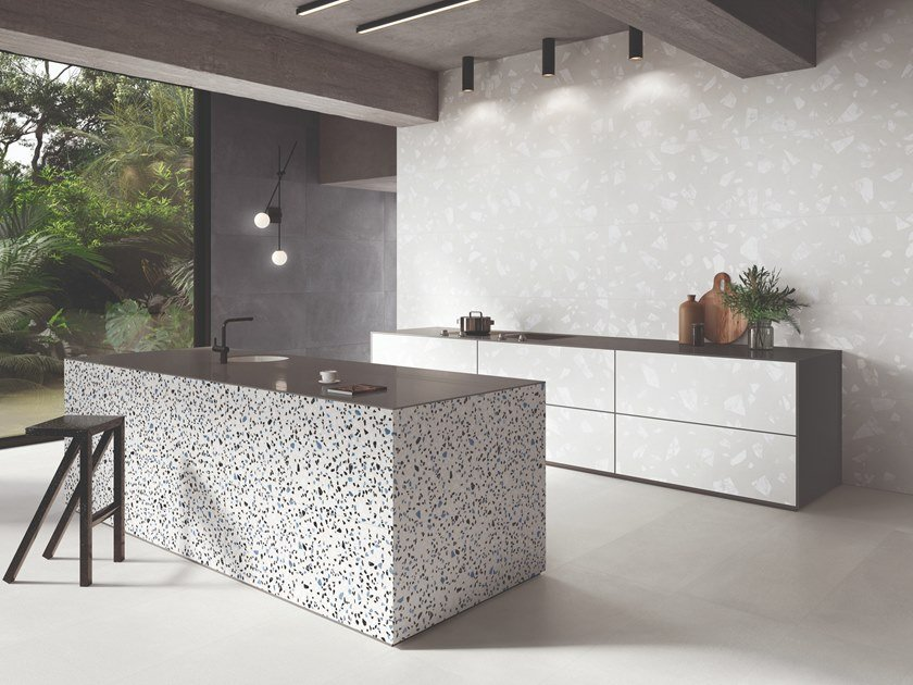 Porcelain stoneware wall/floor tiles terrazzo effect MEDLEY WHITE by Ergon by Emilgroup
