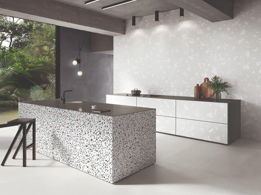 Porcelain stoneware wall/floor tiles terrazzo effect MEDLEY WHITE by Ergon