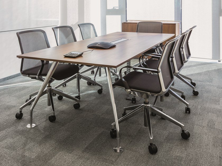 Rectangular meeting table with cable management SLOPE | Meeting table by BENE