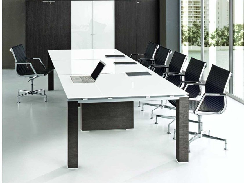 Rectangular tempered glass meeting table JET   Meeting table by Bralco