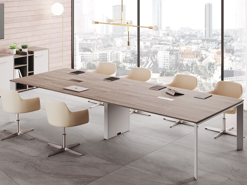 Rectangular meeting table with cable management BRAMANTE | Meeting table by CUF Milano