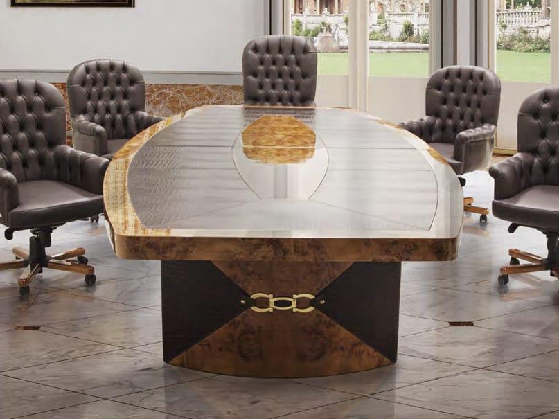 Tavolo da riunione ovale in pelle WOLLY by Formitalia