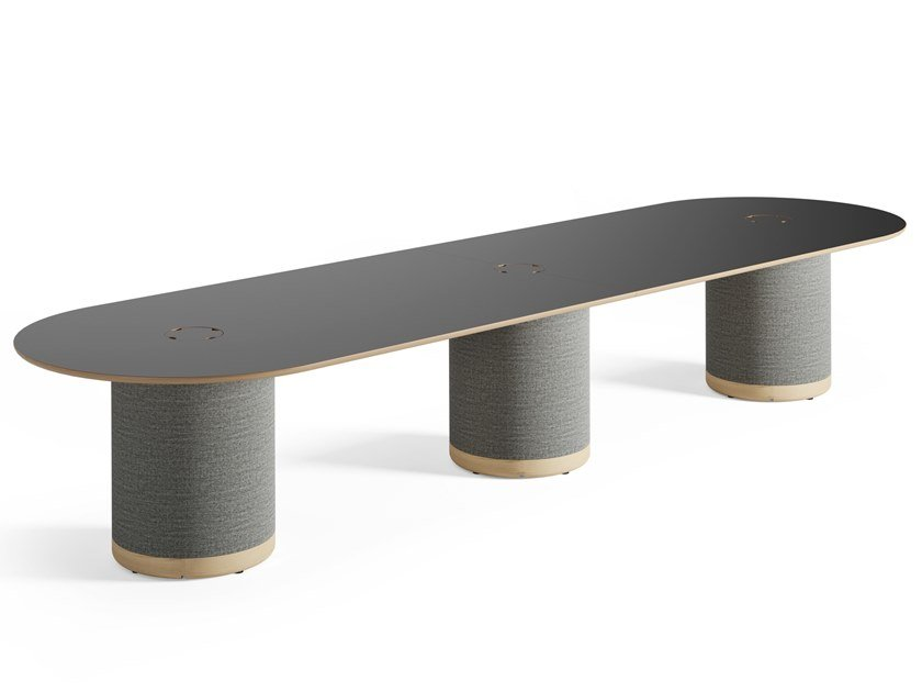 Oval meeting table with cable management WOOFER | Meeting table by Glimakra of Sweden