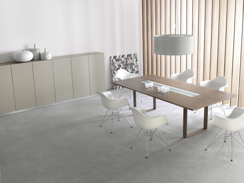 Rectangular meeting table with cable management MIXT   Meeting table with cable management by BALMA