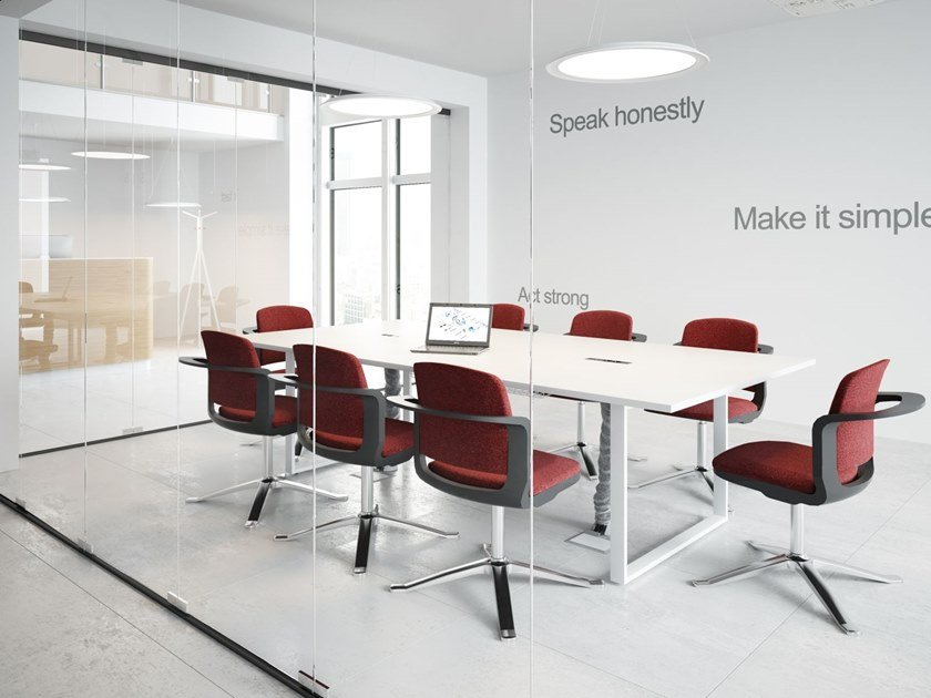 Rectangular meeting table with cable management Meeting table with cable management by FURNIKO