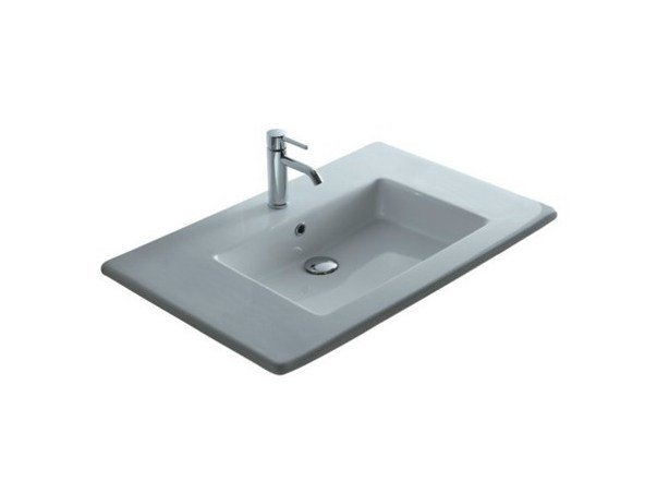 Inset rectangular ceramic washbasin MEG11 - 96 CM | Washbasin by GALASSIA