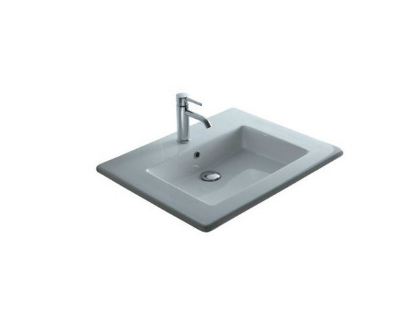 Inset rectangular ceramic washbasin MEG11 - 61 CM | Washbasin by GALASSIA