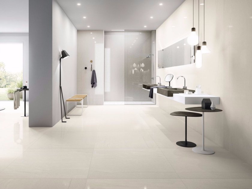 Porcelain stoneware wall/floor tiles with stone effect MEGAWHITE by GranitiFiandre