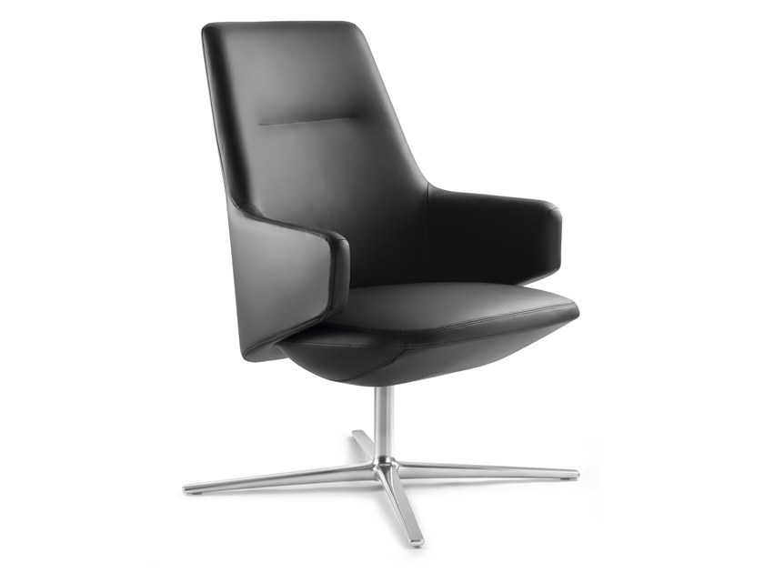 Leather executive chair with 4-spoke base with armrests MELODY LOUNGE   Leather executive chair by LD Seating