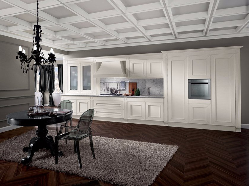 Wood veneer fitted kitchen MELOGRANO CLASSIC CK4 by Composit