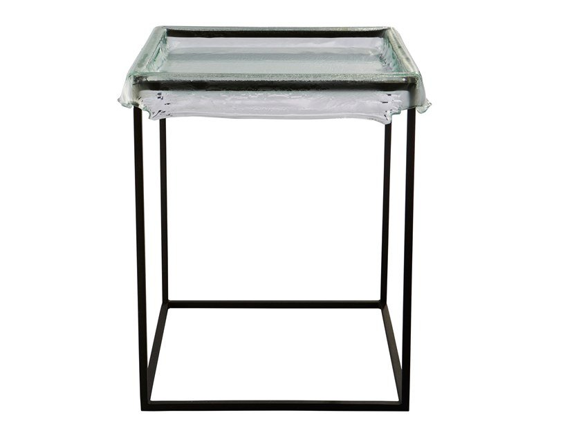 Square Thermoformed glass coffee table with tray MELT | Square coffee table by RADAR INTERIOR