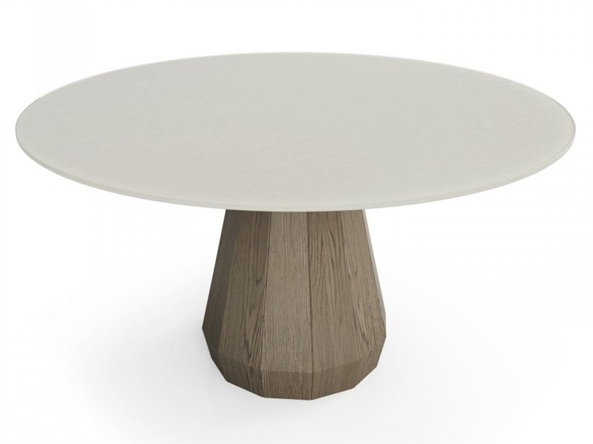 Round wood and glass table MEMENTO | Wood and glass table by Huppé