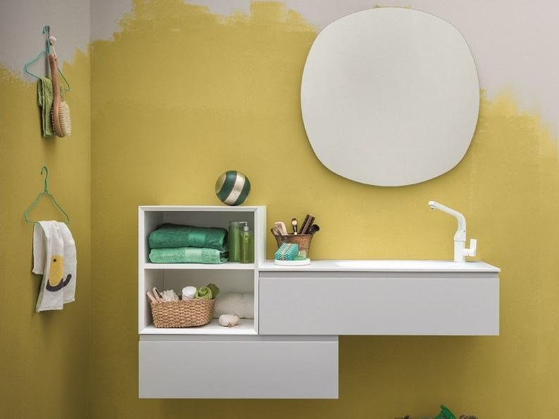 Lacquered wall-mounted vanity unit MEMENTO | Lacquered vanity unit by Birex