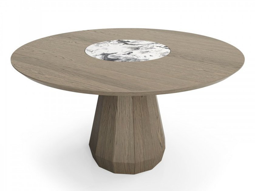Round oak table with stone insert MEMENTO   Natural stone table by Huppé