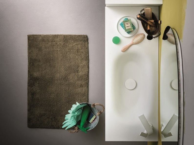 Rectangular Korakril™ washbasin with integrated countertop MEMENTO | Washbasin with integrated countertop by Birex