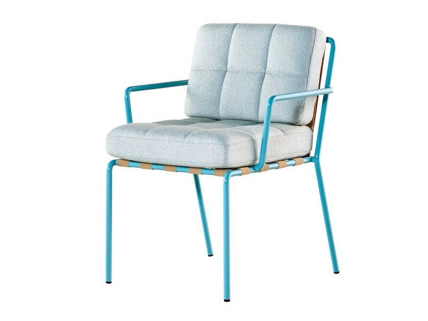 Upholstered fabric chair with armrests MEMORY LANE | Fabric chair by Tacchini