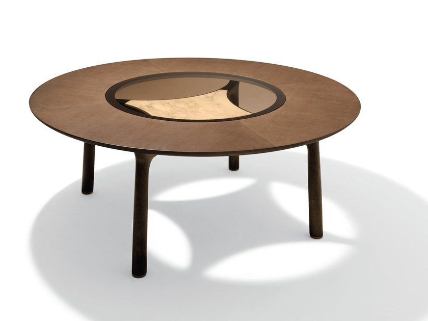 Round wooden living room table MEMOS | Wooden table by GIORGETTI