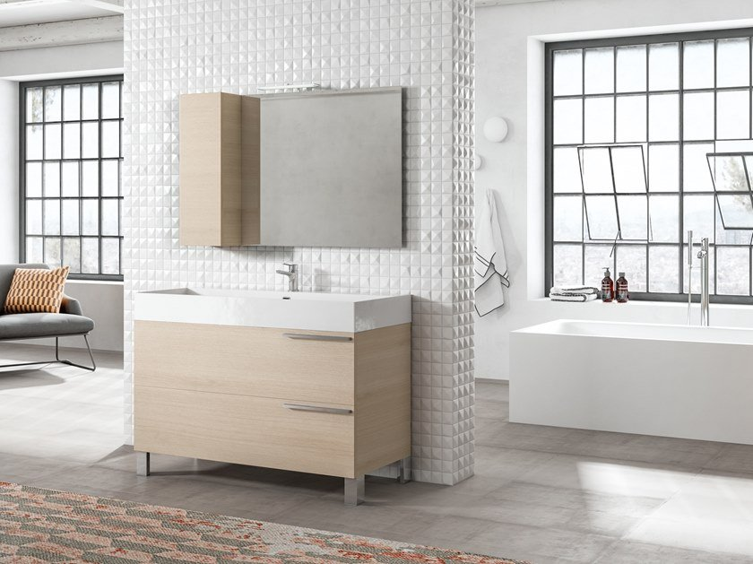 Floor-standing vanity unit with mirror MERCURY 01 by BMT