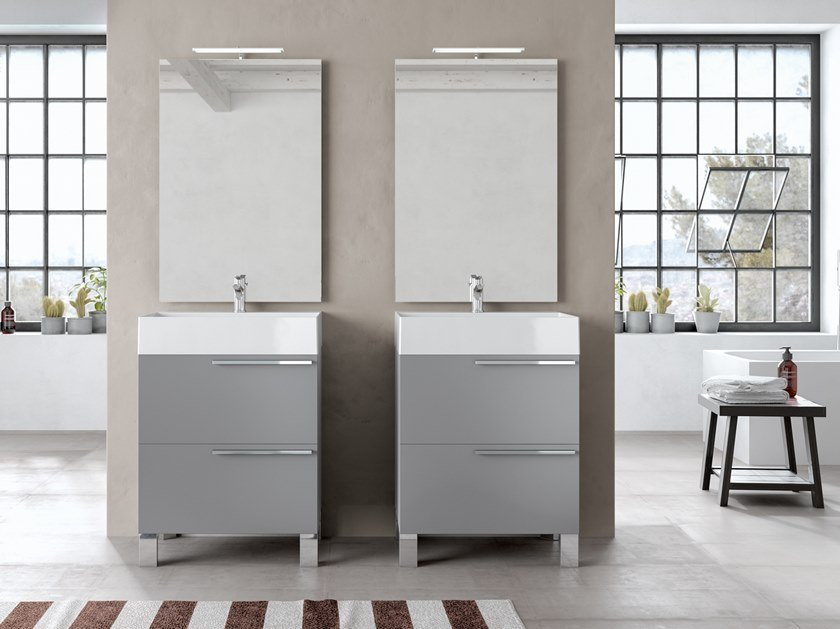 Floor-standing vanity unit with mirror MERCURY 03 by BMT