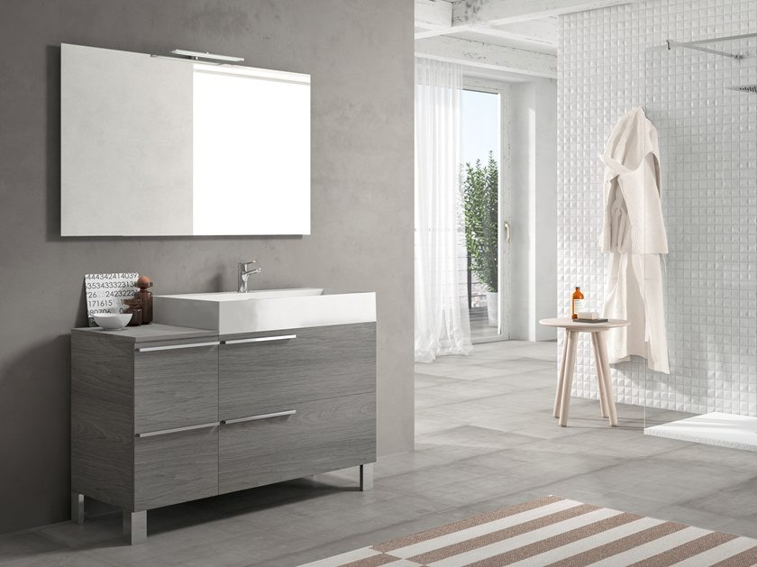 Floor-standing vanity unit with mirror MERCURY 06 by BMT