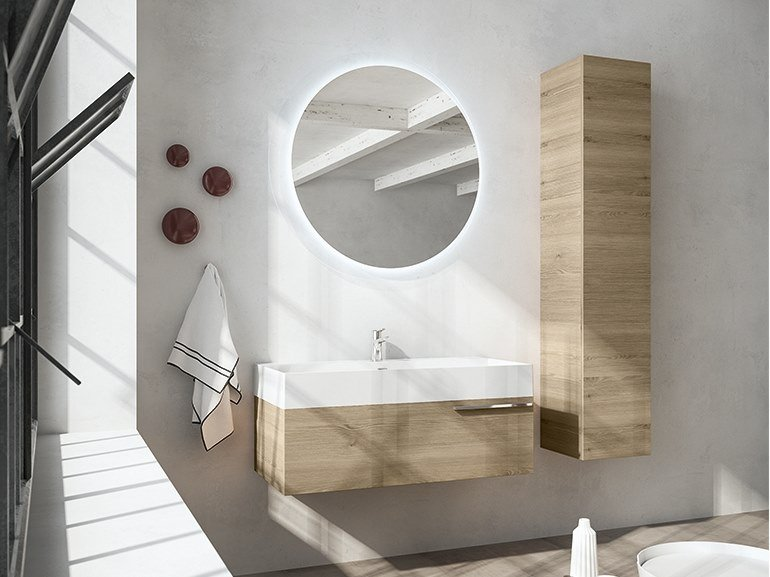 Wall-mounted vanity unit with mirror MERCURY 07 by BMT
