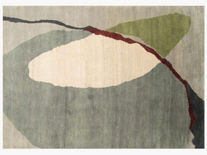 Handmade rectangular wool rug MERGE DAY by ROCHE BOBOIS