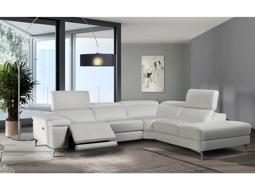 Corner recliner leather sofa MERLINO by Max Divani