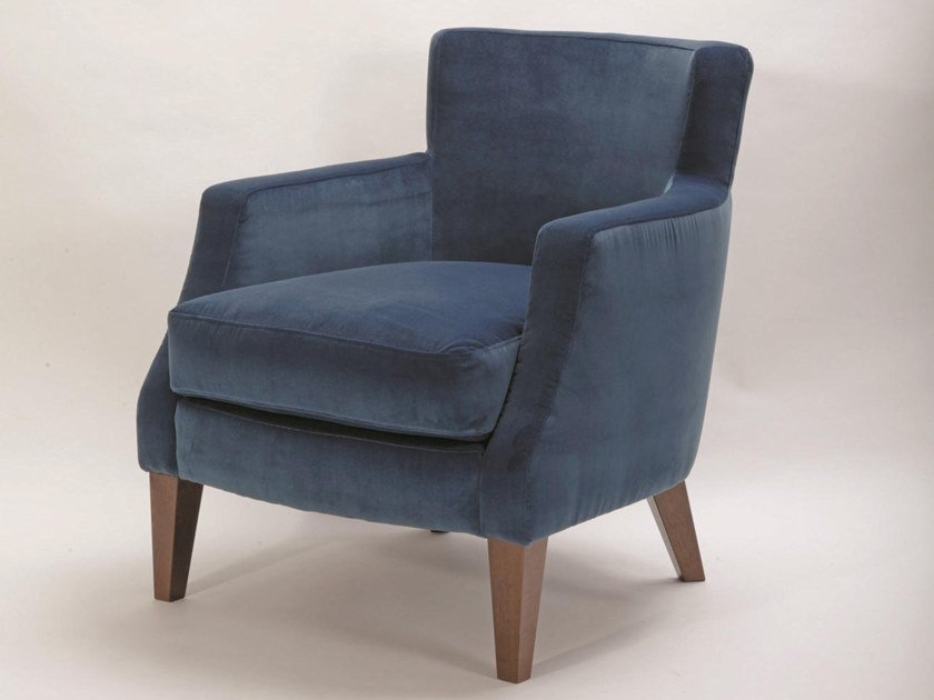 Upholstered fabric armchair with armrests MERYL by H&Co