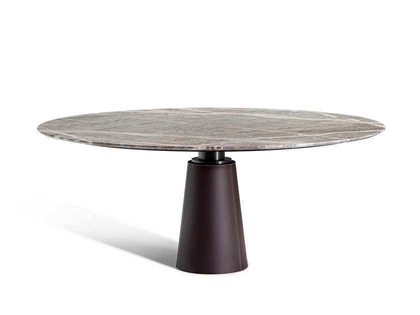 Round dining table with marble top MESA DUE | Marble table by Poltrona Frau