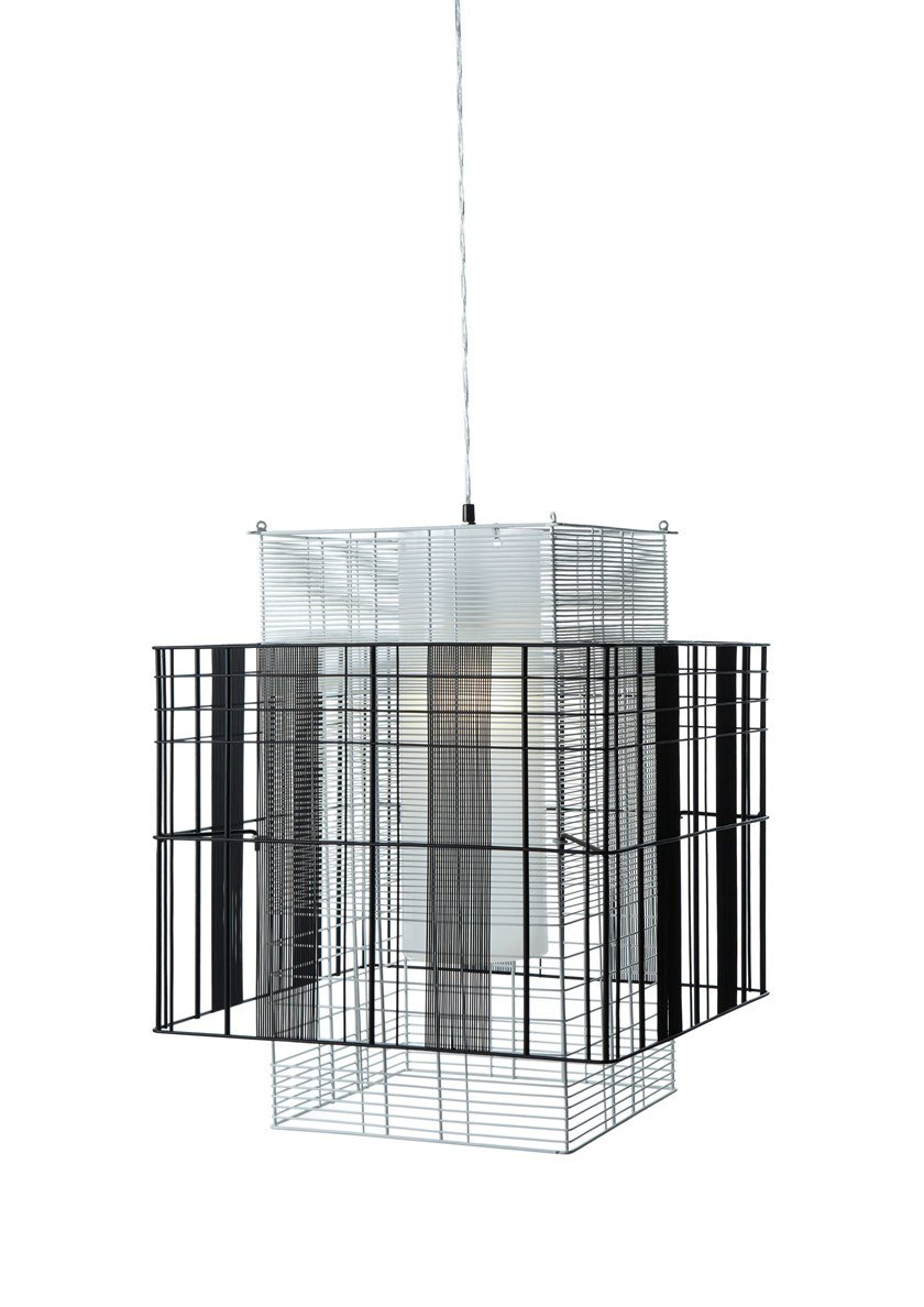 Direct-indirect light metal pendant lamp MESH CUBIC M by Forestier