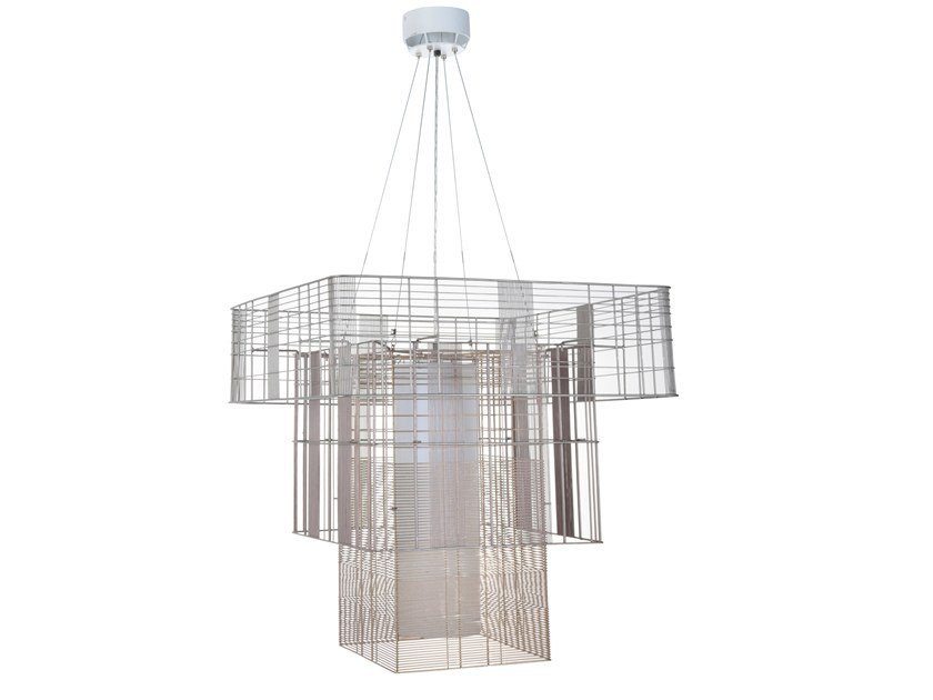 Direct-indirect light metal pendant lamp MESH CUBIC XL by Forestier