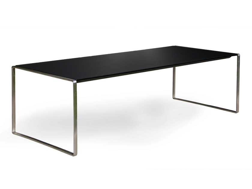 Contemporary style rectangular stainless steel garden side table MESONA 142 by FueraDentro