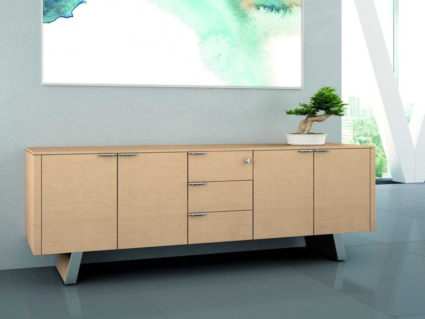 Office storage unit with lock METAR | Oak office storage unit by Bralco